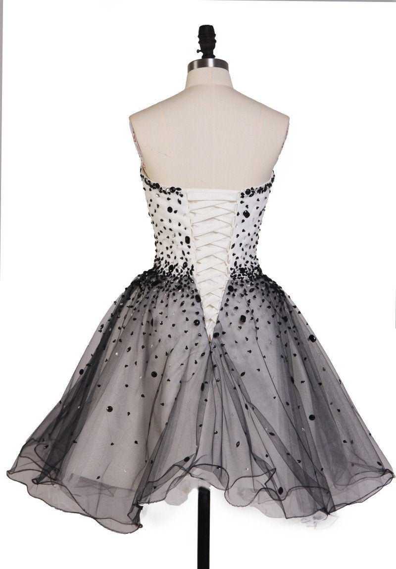 Classy Black and White Sleeveless Short Homecoming Dress M448 - Ombreprom
