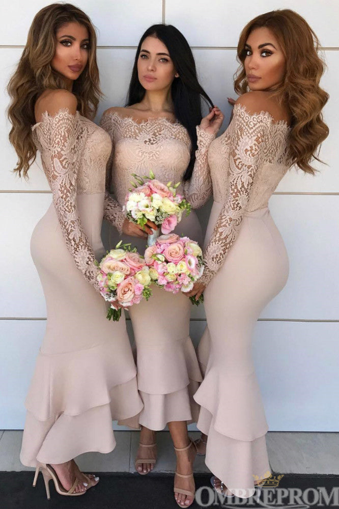 Mermaid Off Shoulder Long Sleeves Lace Bridesmaid Dress B492