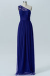 Twilight Blue One Shoulder Bridesmaid Dresses,Lace Appliques Chiffon Bridesmaid Gown