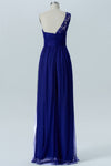 Twilight Blue One Shoulder Bridesmaid Dresses,Lace Appliques Chiffon Bridesmaid Gown OMB48 - Ombreprom