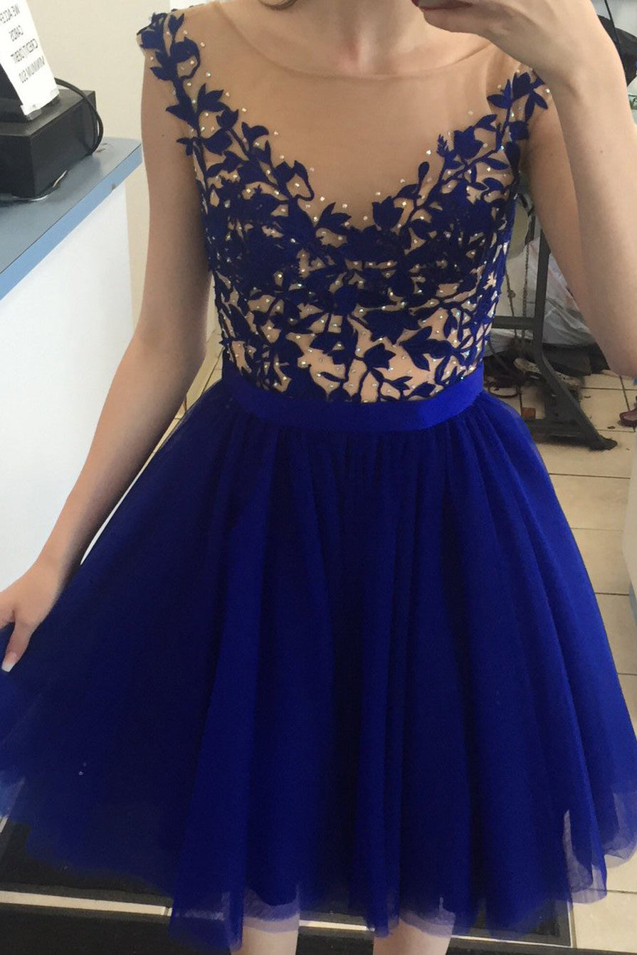 Royal Blue Bateau V-back Short Prom Dress, Homecoming Dress with Appliques M321