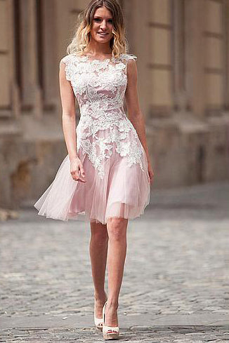 Pink A-Line Jewel Neck White Lace Tulle Homecoming Dresses, Short Prom Dress P577