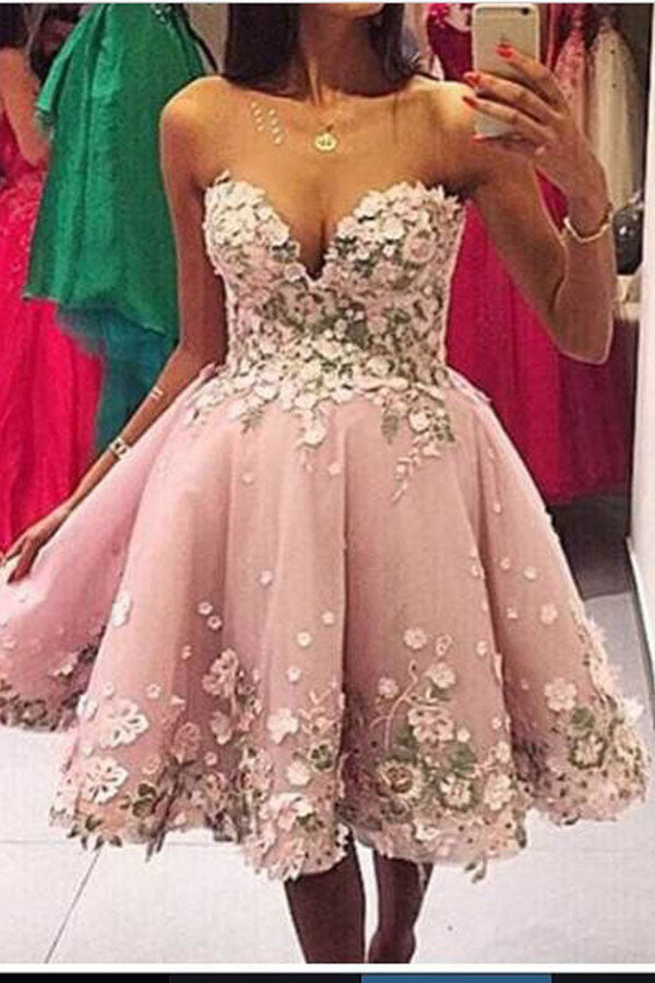 Sweetheart Strapless Homecoming Dress,Open Back Appliques Floral Short Prom Dress