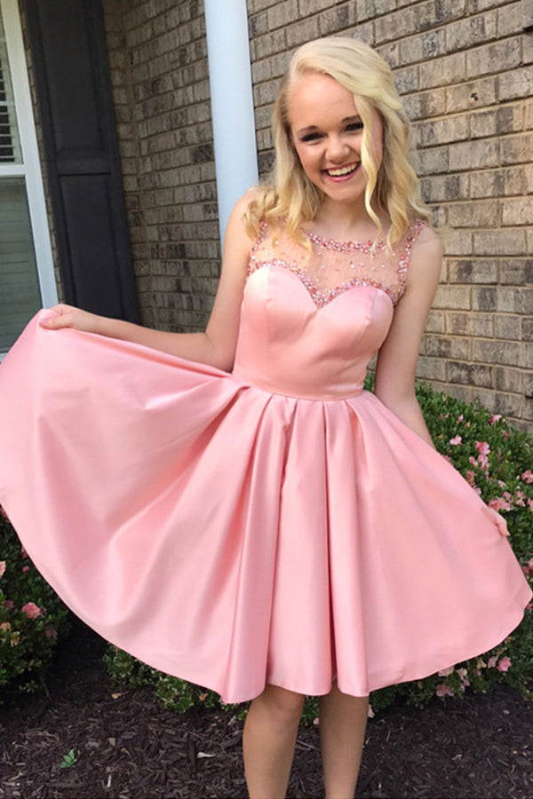 Pink Sleevekess Beading Homecoming Dress,Open Back Short Prom Dress