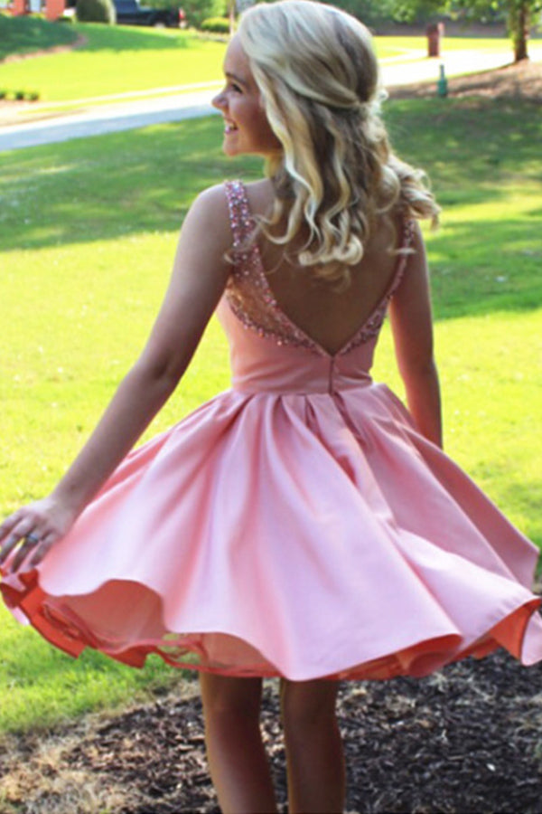 Pink Sleeveless Beading Homecoming Dress,Open Back Short Prom Dress H210 - Ombreprom