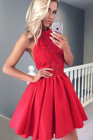 Red Halter Sleeveless Homecoming Dress,A Line Appliques Sequins Backless Short Prom Dress