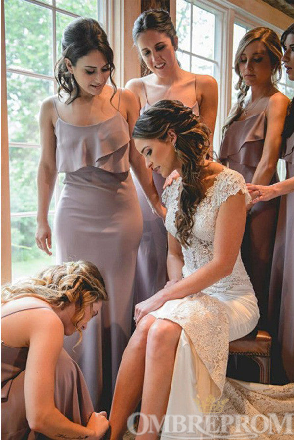 Simple Spaghetti Straps Long Mermaid Bridesmaid Dress B510