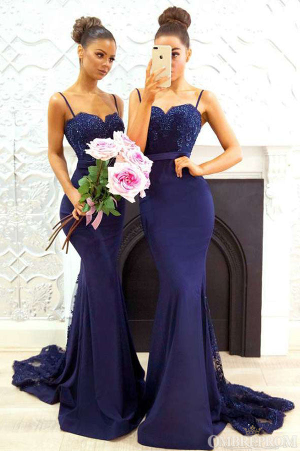 Spaghetti Straps Sweetheart Mermaid Appliques Lace Bridesmaid Dress B489
