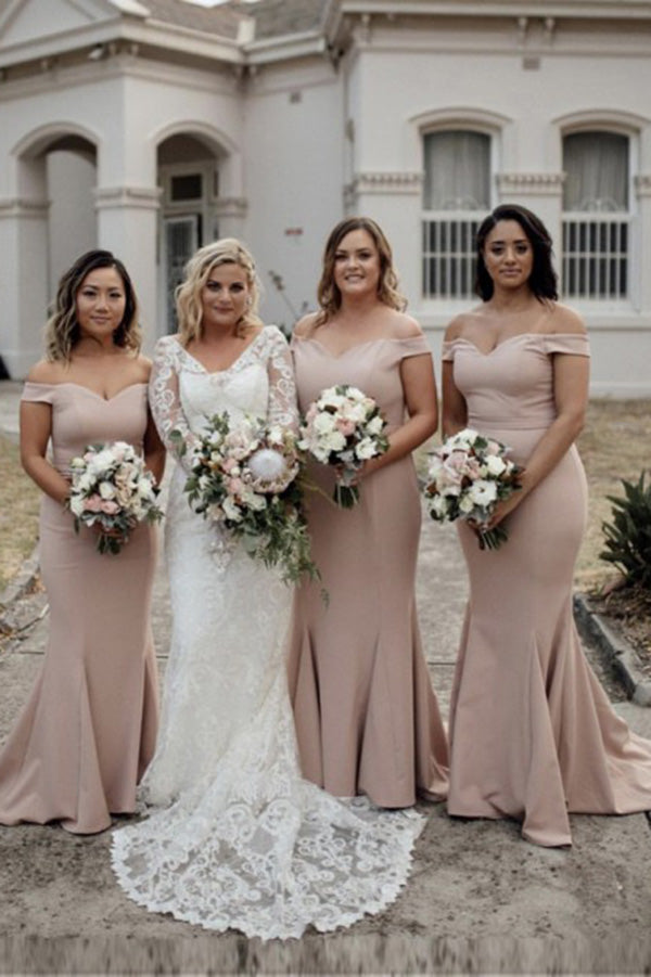 Unique Off Shoulder Satin Mermaid Bridesmaid Dress B518