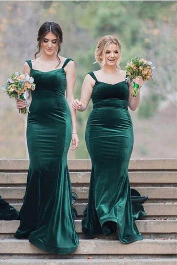 Teal Green Mermaid Sweetheart Sleeveless Spaghetti Straps Bridesmaid Dress B438