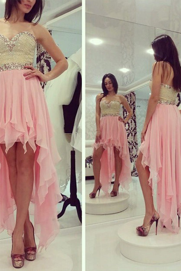 Cheap A-Line Sleeveless Sweetheart Beading Chiffon Asymmetrical Homecoming Dresses M299 - Ombreprom