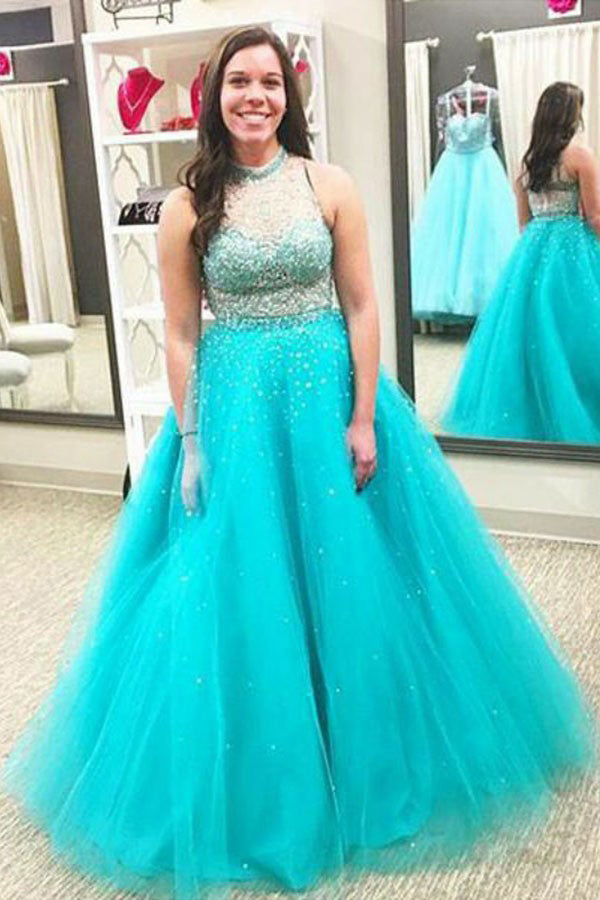 Cheap Tulle High Neck Ball Gown Sleeveless Beading Floor-Length Plus Size Dresses S24 - Ombreprom