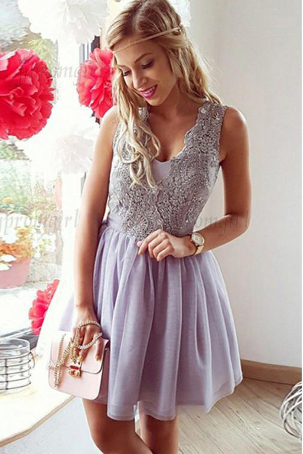 Chic Tulle Sleeveless With Applique A Line Homecoming Dress M502