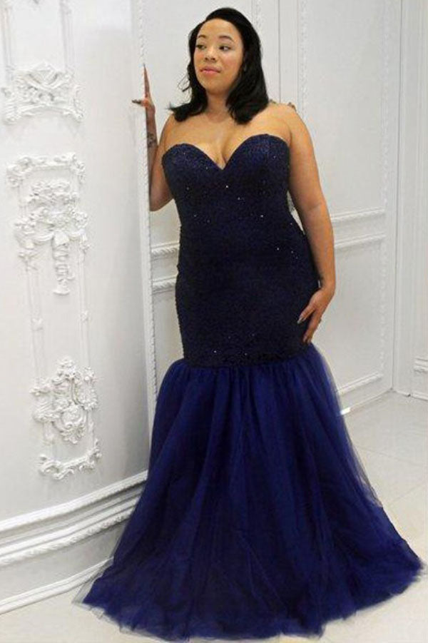 Gorgeous Mermaid Sweetheart Tulle Sleeveless Sequin Plus Size Prom Dress P779