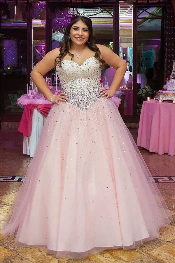 Chic Round Neck Sleeveless Beading Appliques Tulle Floor Length Prom Dress P778
