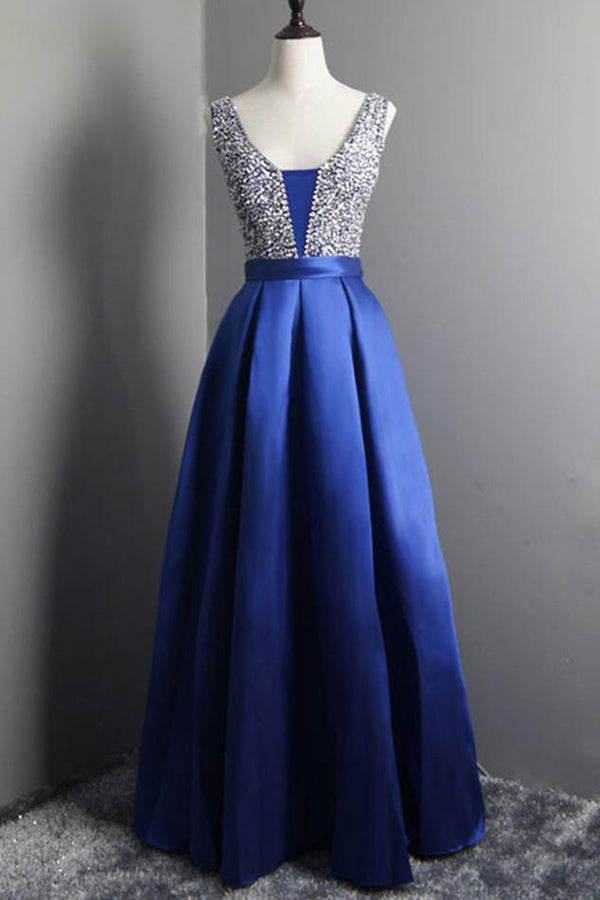 Simple Beaded Satin Blue Long V Neck Prom Dresses P614