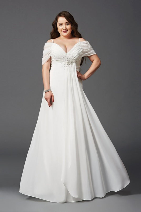 Charming Chiffon White A-Line Off-the-Shoulder Ruched Short Sleeves Long Plus Size Dresses S22 - Ombreprom