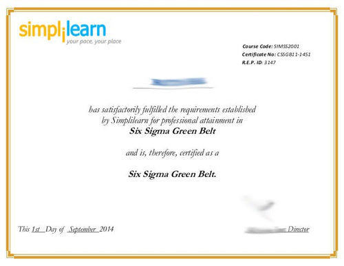 Certificate - Six Sigma Green Belt