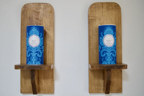 Pair Wooden Sconce's - Large