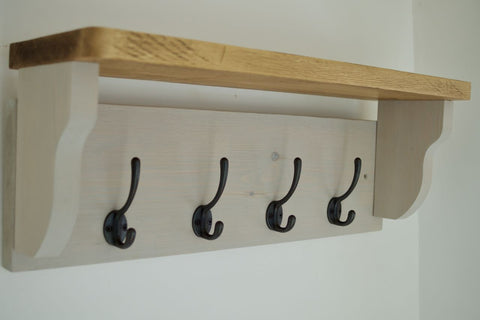 Paris Grey Farmhouse Style Hat / Coat Rack Complete With Shelf and 4 Cast Iron Hooks