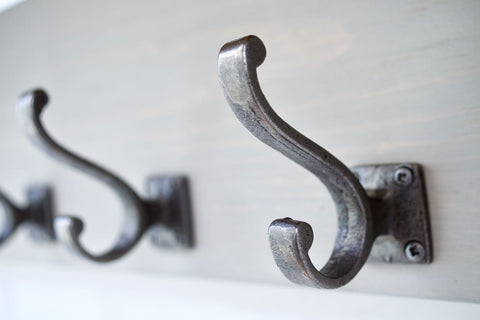 Farmhouse Style  Hat / Coat Rack Complete With Shelf and 4 Stylish Antique Cast Iron Hooks