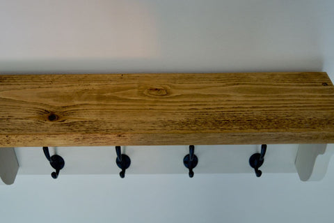 White Farmhouse Style Hat / Coat Rack Complete With Shelf and 4 Cast Iron Hooks