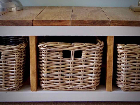 Shoe Storage Bench / Hallway Unit Farmhouse Style With 3 Wicker Baskets