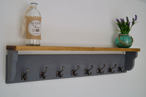 Slate Grey Farmhouse Style Hat / Coat Rack With Shelf & 8 Stylish Antique Cast Iron Hooks