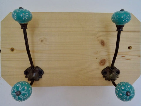 Entrance Hallway, Wash Room Coat Rack / Hat Rack / Towel Holder - 2 Duck Egg Blue Ceramic Hooks
