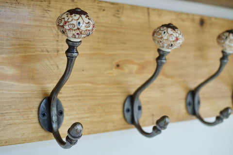 Heavy Rustic Hat / Coat Rack With Shelf and 4 Ceramic / Acorn Cast Iron Hooks