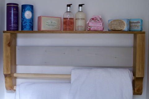 Rustic Wooden Towel Rail With Shelf & Annie Sloan Back