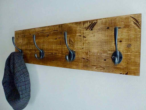 Entrance Hallway Coat Rack / Hat Rack - 4 Cast Iron Hooks