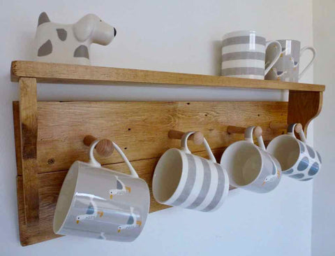Rustic Mug / Cup Rack With Shelf & 4 Pegs