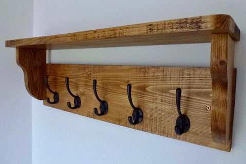 Rustic Hat / Coat Rack With Shelf and 5 Cast Iron Hooks- Farmhouse Style