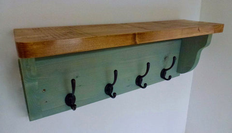 Farmhouse Style Hat / Coat Rack Complete With Shelf and 4 Cast Iron Hooks