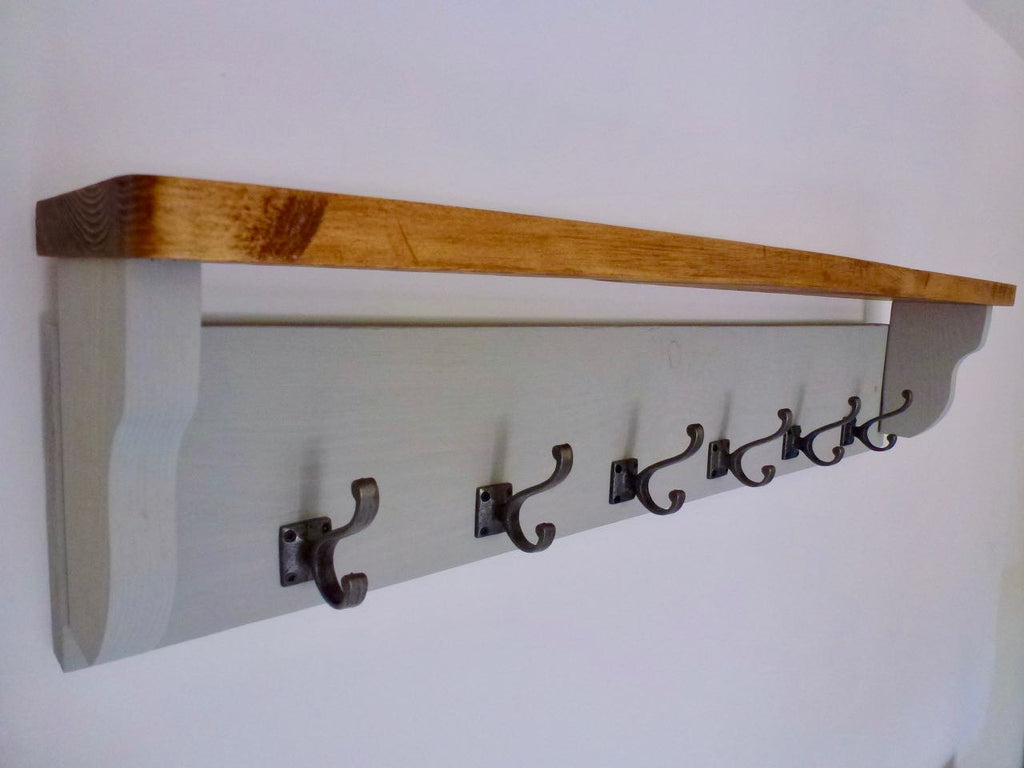 Farmhouse Style  Hat / Coat Rack Complete With Shelf and 6 Stylish Antique Cast Iron Hooks