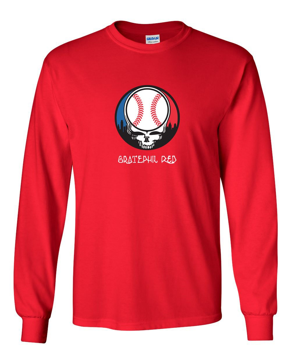 Gratephil Red MENS Long Sleeve Heavy Cotton T-Shirt