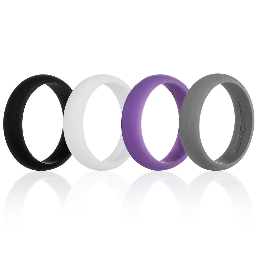 Women's Silicone Wedding Ring Bands - Black, White, Purple, Gray - 5.5mm
