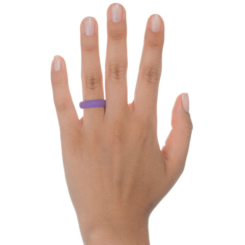 Image of Women's Silicone Wedding Ring Bands - Black, White, Purple, Gray - 5.5mm