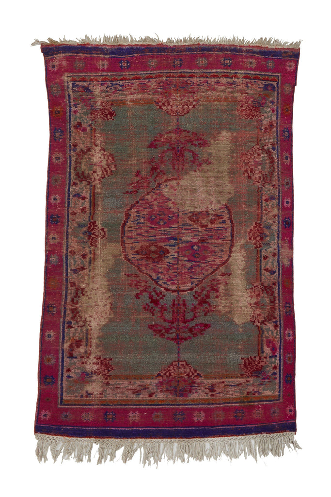"'Gobi' Distressed Vintage Turkish Rug- 4'6"" x 6'9"" - Canary Lane - Curated Textiles"