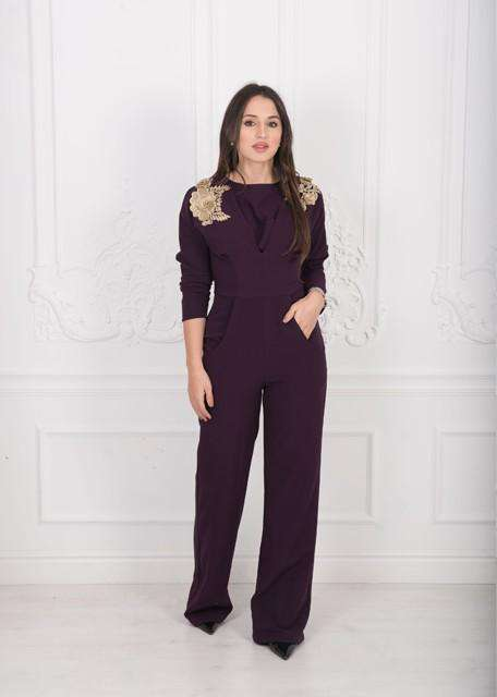 Jumpsuit with gold floral appliques,STUDIO TEH, Curated Designer at Freesigners.com