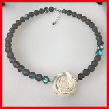 Chunky Mother of Pearl Flower with Moonstone Beads