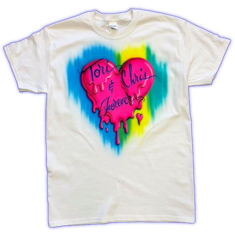 Melting Heart Airbrushed Couples Tshirt