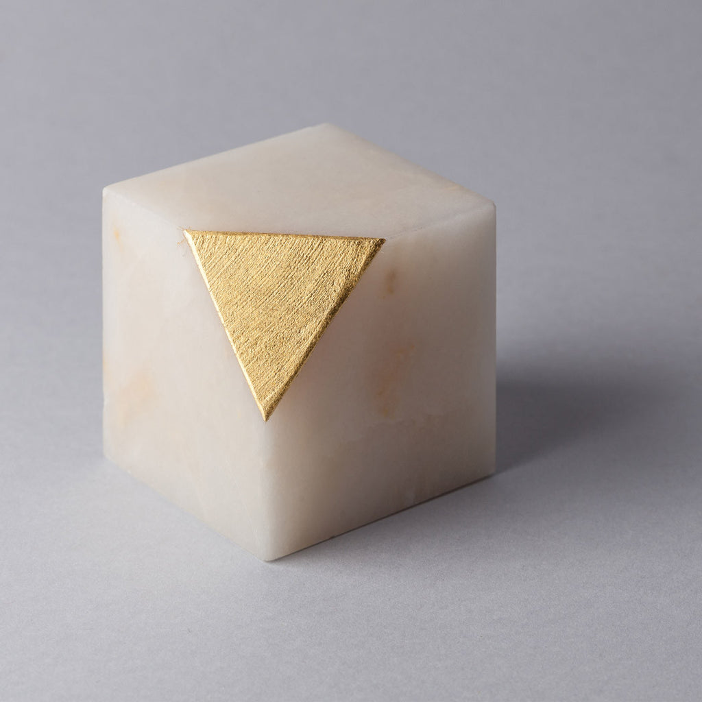 Gold Cut Paper Weight Tarek ElKassouf Light Onyx