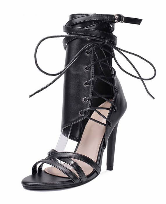 Lace Up Ankle Strap High Heels Party Sandal