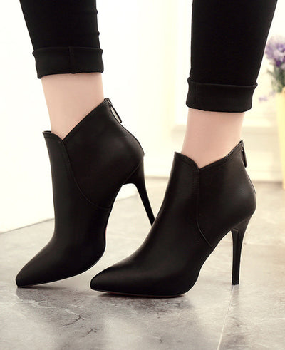 Pointed Toe PU Leather High Heels Boots