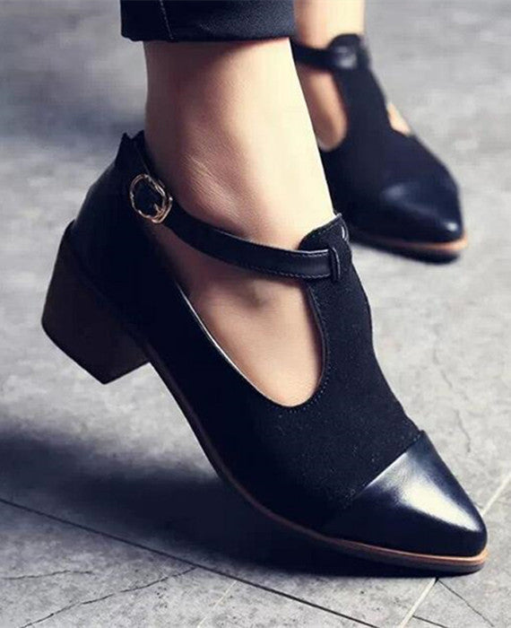 Vintage Oxford Pointed Toe Cut Out Buckle Ladies Shoes