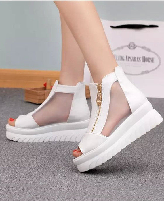 Sexy Peep Toe Wedge Mesh Thick Heels Sandals White