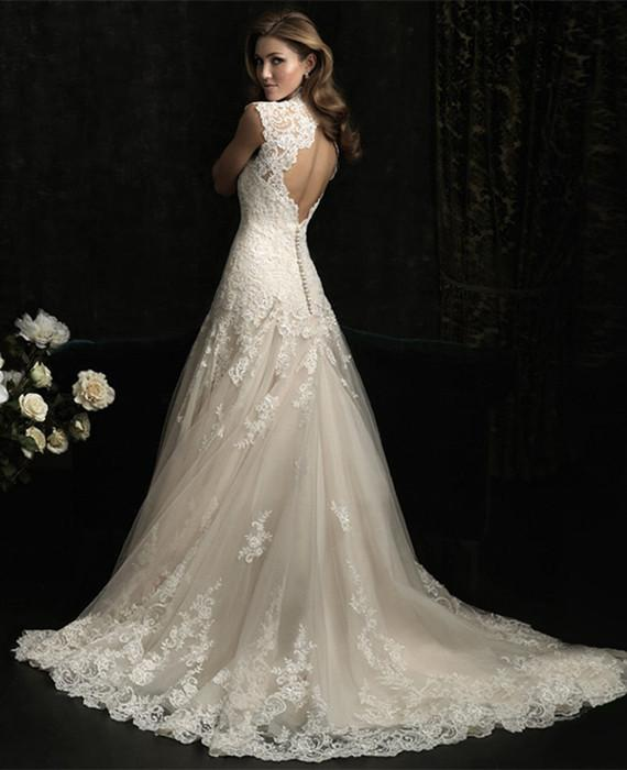 Sexy A-Line Lace Romantic Wedding Dress
