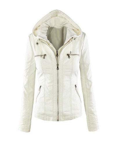 winter jackets, Women hooded faux leather jacket  white